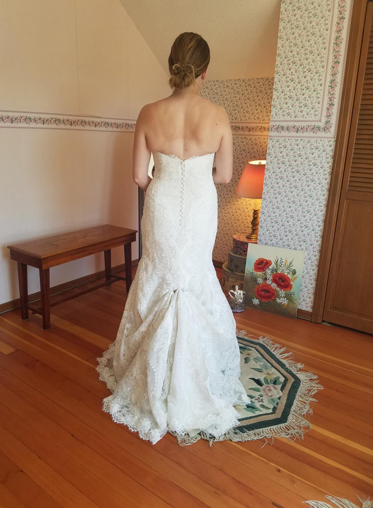 Essence of Australia 'D2224' size 10 used wedding dress back view on bride