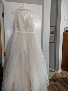 Galina 'Tulle Tank V-Neck' size 10 new wedding dress front view on hanger