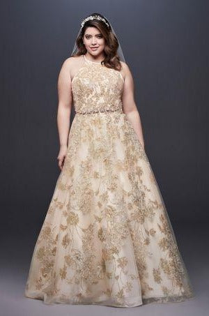 Galina Signature 'Allover Lace Applique Plus Size Ball Gown 9SWG801'