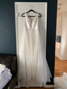 Sarah Seven 'Lorelai' size 4 used wedding dress front view on hanger