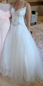 Stella York '6558' size 8 used wedding dress front view on bride