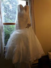 Allure 'Drop Waist Beaded' size 2 used wedding dress front view on hanger