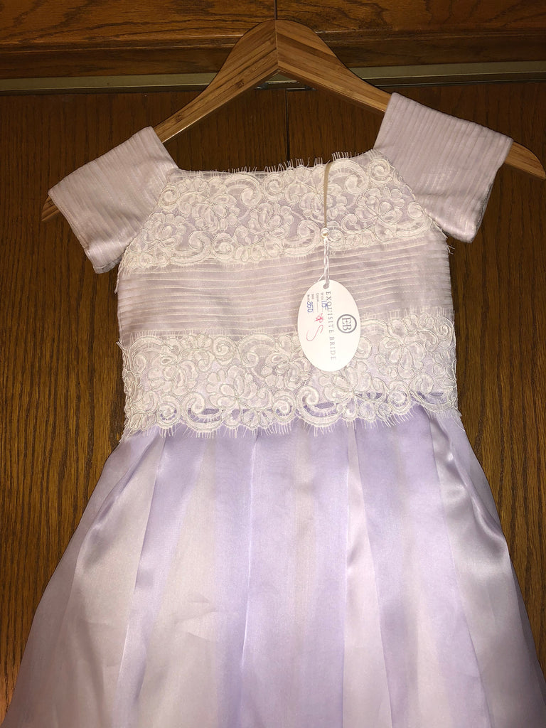 Exuisite Brides 'Lavender and Ivory Intricately Pleated Long Flower Girl Dress' size 8 child's flower girl dress close up front view