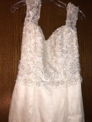 Exquisite Bride 'Portia' size 10 new wedding dress front view close up on hanger