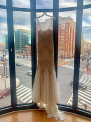 Badgley Mischka 'Lake' size 4 sample wedding dress front view on hanger