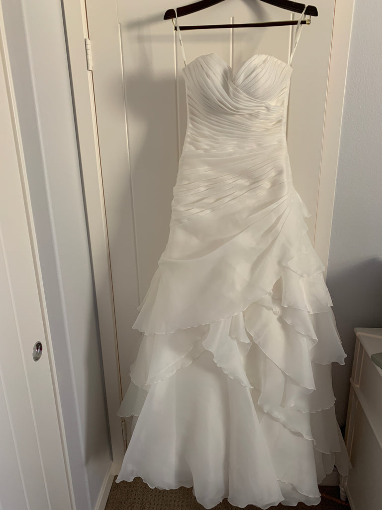 Demetrios '98249' size 6 used wedding dress front view on hanger