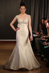Ines Di Santo 'Aubergine' size 12 used wedding dress front view on model