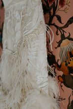 Load image into Gallery viewer, Marchesa 'Ostrich Feathered' size 4 used wedding dress close up view of feathers