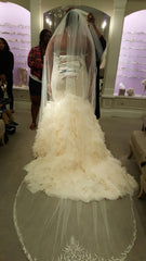 Danielle Caprese 'Mermaid' size 18 used wedding dress back view on bride