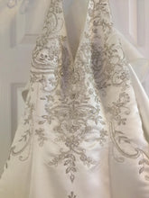 Load image into Gallery viewer, Custom '2001' size 12 new wedding dress front view on hanger