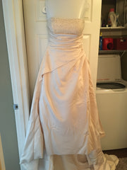 Maggie Sottero 'Strapless Beaded' size 14 used wedding dress front view on hanger
