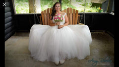Watters '8082B' size 16 used wedding dress front view on bride