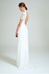 Collette Dinnigan 'Snowflake' size 0 sample wedding dress back view on model