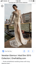 Load image into Gallery viewer, Inbal Dror '15-14' size 10 used wedding dress front view on model