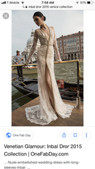 Inbal Dror '15-14' size 10 used wedding dress front view on model