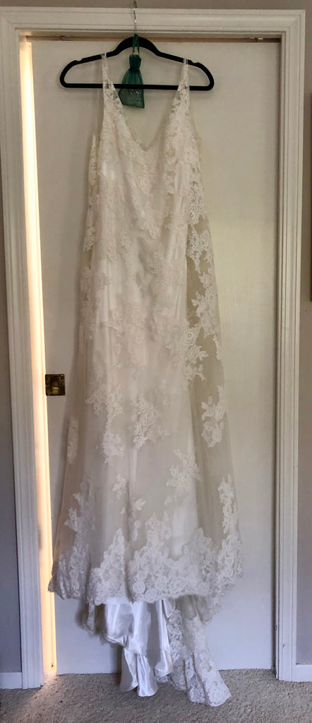 Maggie Sottero 'Trumpet Lace' size 14 sample wedding dress front view on hanger