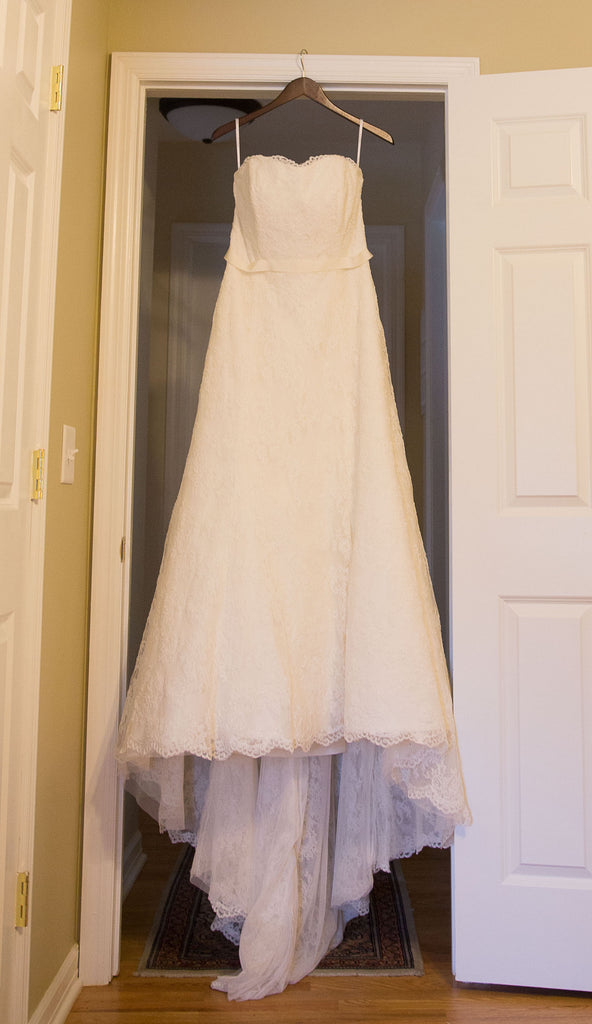 Wtoo 'Delphine' size 12 used wedding dress front view on hanger