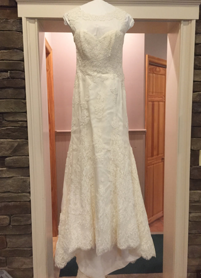 Anne Barge 'Victoire' size 6 new wedding dress front view on hanger