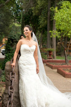 Load image into Gallery viewer, Enzoani 'Eva' size 6 used wedding dress front view on bride