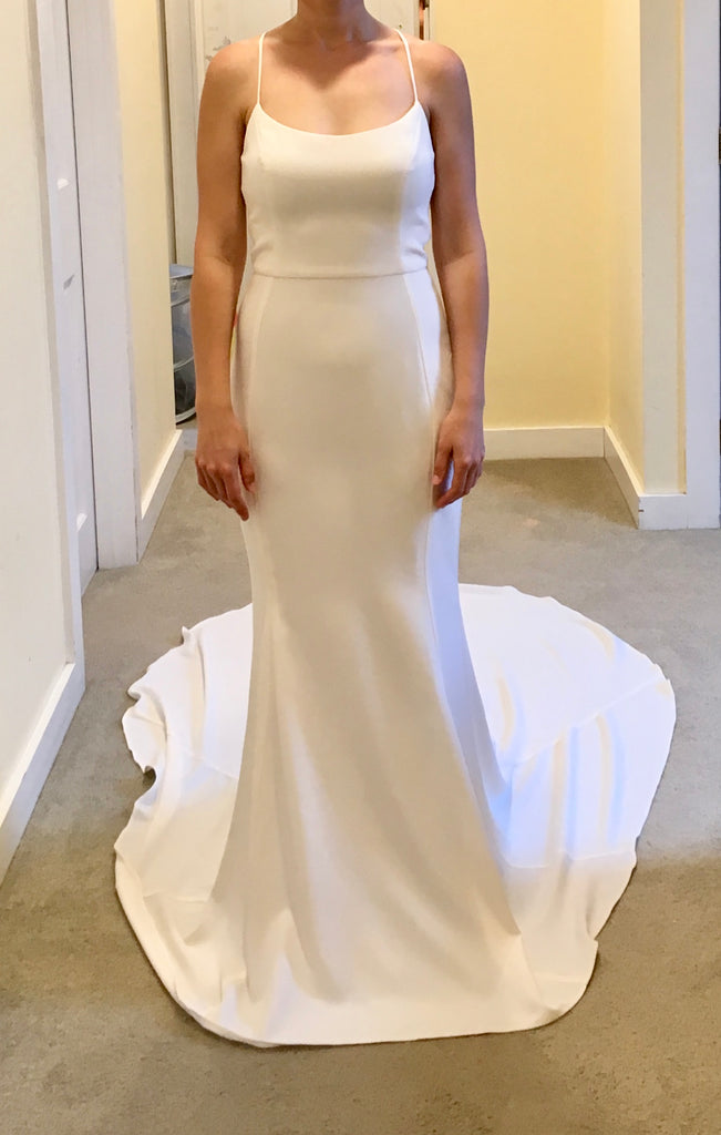 Amsale 'Audrey' size 6 new wedding dress front view on bride