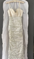 Nicole Miller 'Matte Sparkle' size 4 used wedding dress front view on hanger