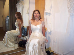 Vera Wang 'Juliet' size 4 used wedding dress front view on bride