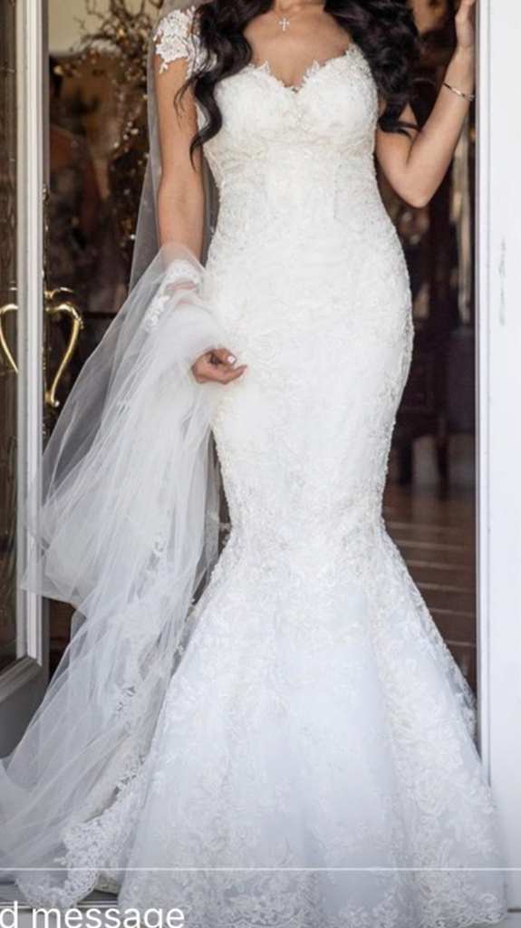 Galia Lahav 'Desiree' size 2 used wedding dress front view on bride