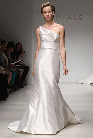 Amsale 'Hampton' Asymmetrical Trumpet Wedding Dress