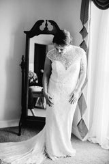 Allure 'C324' size 10 used wedding dress front view on bride