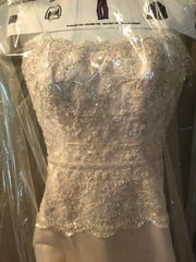 Mon Cherie 'Blush Beaded' size 2 used wedding dress front view on hanger