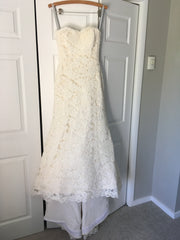 Birnbaum and Bullock 'Vivian' size 2 used wedding dress front view on hanger