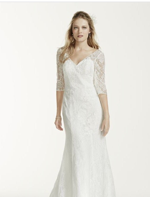 David's Bridal '3/4 Sleeve' - David's Bridal - Nearly Newlywed Bridal Boutique