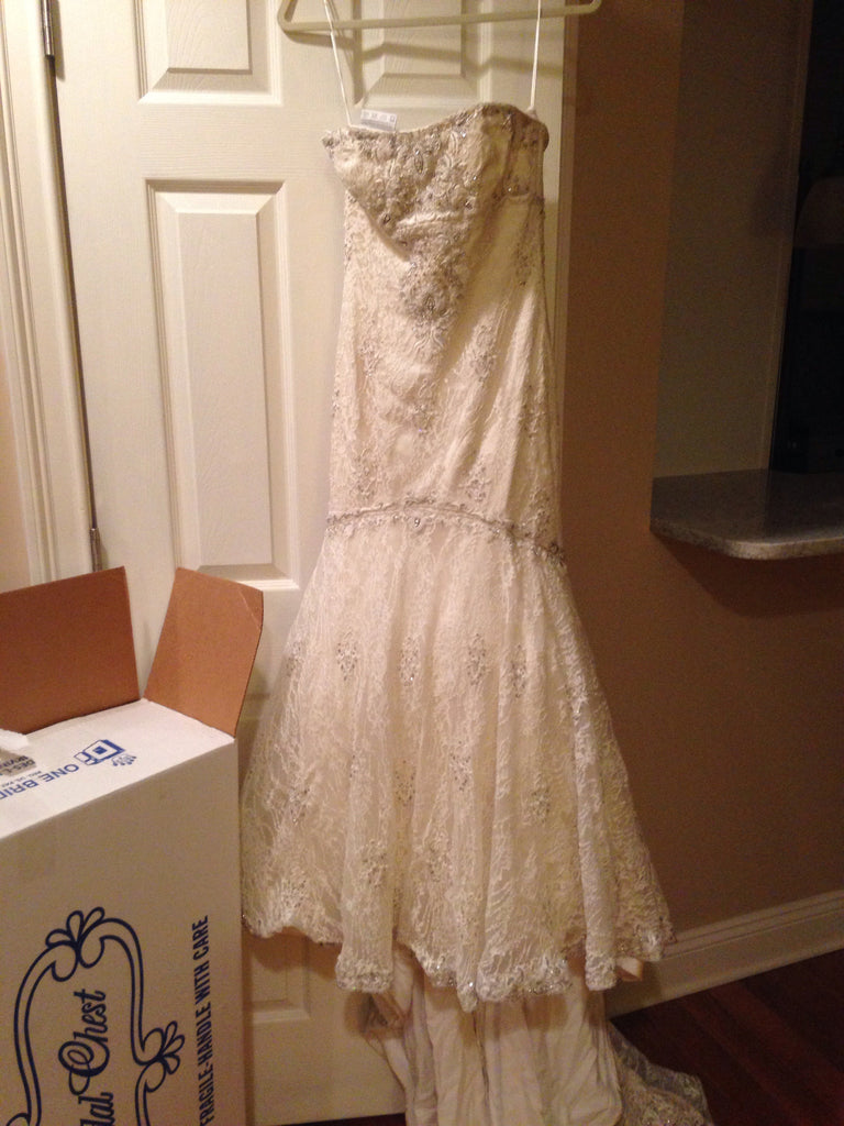Kenneth Pool Lace Dress with Cathedral-Length Lace Veil - Kenneth Pool - Nearly Newlywed Bridal Boutique - 4