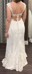 Essence of Australia 'Lace Cap Sleeve' size 8 new wedding dress back view on bride