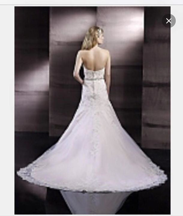 Moonlight Couture 'H1243' size 8 new wedding dress back view on model