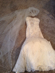 Kenneth Pool Lace Dress with Cathedral-Length Lace Veil - Kenneth Pool - Nearly Newlywed Bridal Boutique - 8