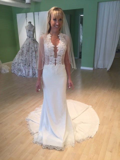 Ines Di Santo 'Spicy' size 2 new wedding dress front view on bride