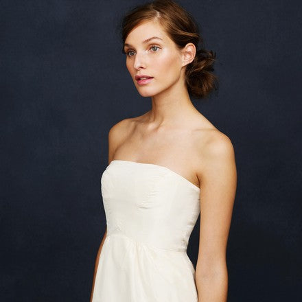 J Crew 'Clarice' size 6 used wedding dress front view on model