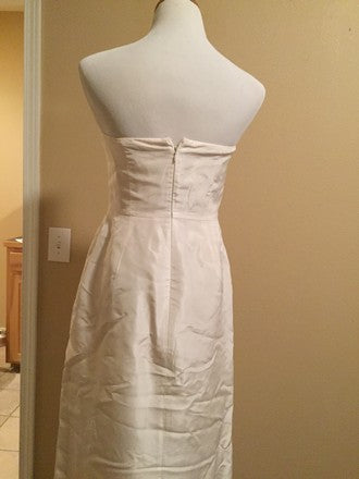 J Crew 'Clarice' size 6 used wedding dress back view on mannequin