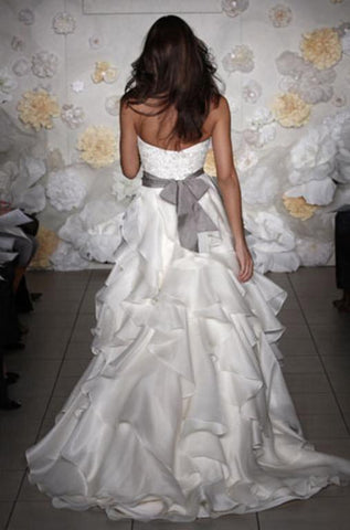 Jim Hjelm Semi Sweetheart Ruffled Ball Gown with Platinum Sash
