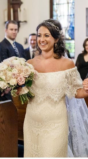 Daughters of Simone 'Joplin' size 12 used wedding dress front view on bride