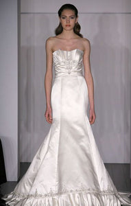 Kenneth Pool 'Marlene' Satin Trumpet Wedding Dress - Kenneth Pool - Nearly Newlywed Bridal Boutique - 1