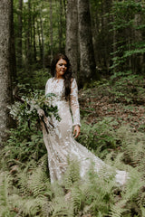 Custom 'Bohemian' size 6 used wedding dress front view on bride