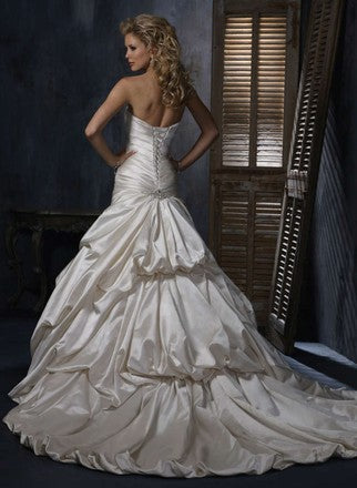 Maggie Sottero 'Kendra' size 8 used wedding dress back view on model
