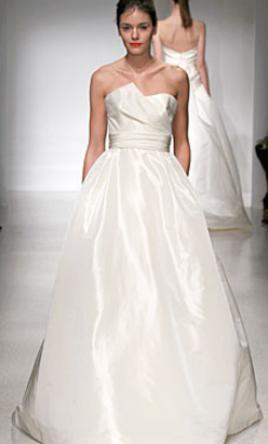 Amsale 'Lauren' size 6 new wedding dress size 6 used wedding dress front view on model