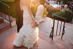 Vera Wang 'Erica' size 0 used wedding dress back view on bride