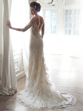 Load image into Gallery viewer, Maggie Sottero 'Verina' size 8 used wedding dress back view on model