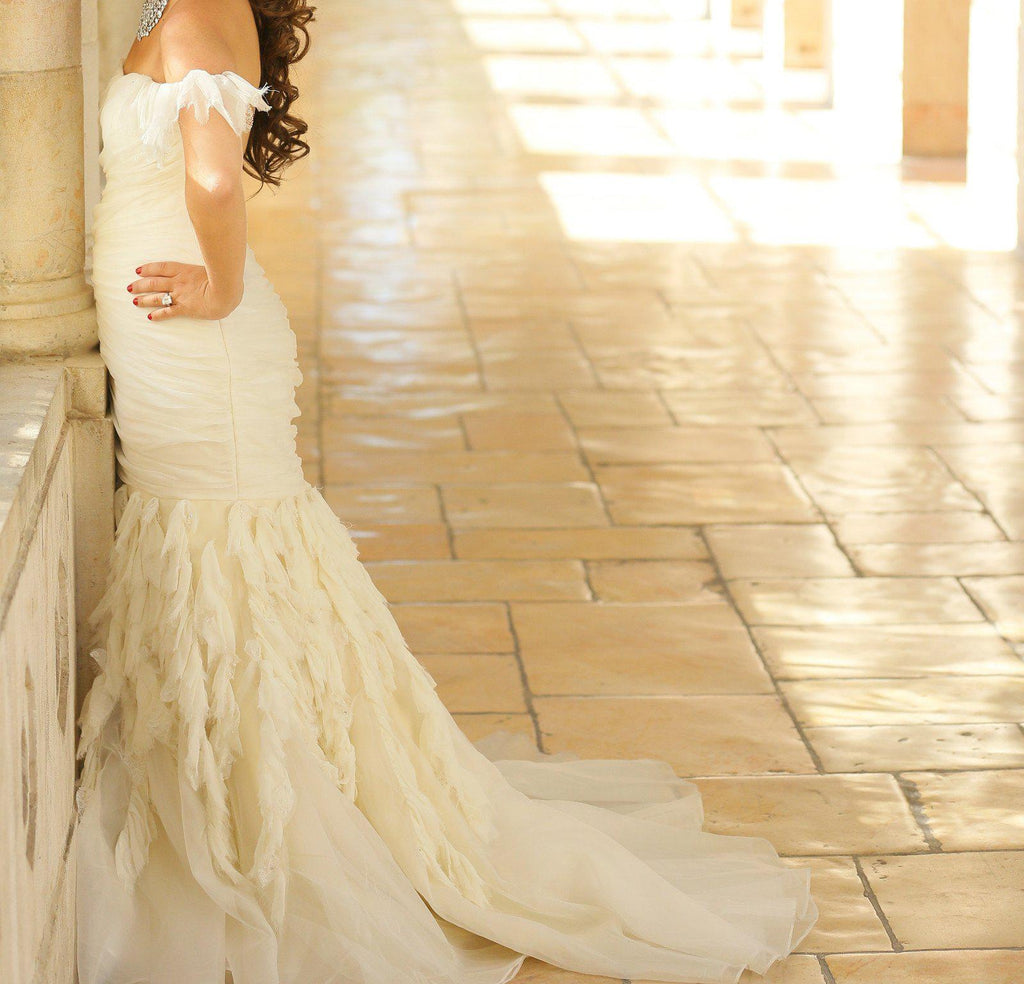 Jim Hjelm Chiffon & Crystal Shirred Gown - Jim Hjelm - Nearly Newlywed Bridal Boutique - 3