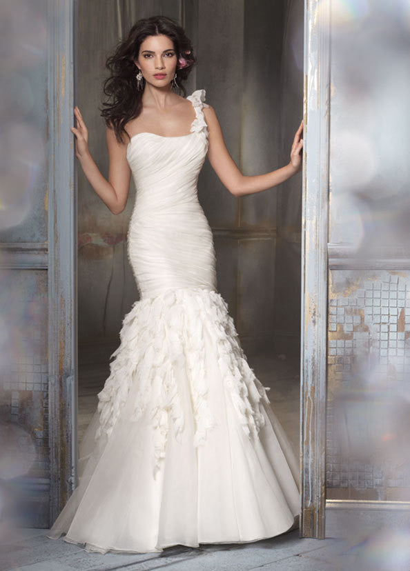 Jim Hjelm Chiffon & Crystal Shirred Gown - Jim Hjelm - Nearly Newlywed Bridal Boutique - 1