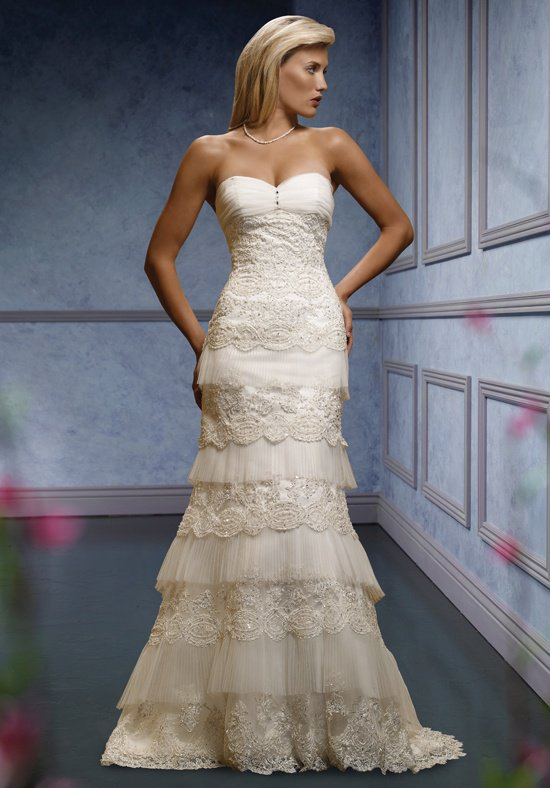 Mia Solano 'M424C' size 6 sample wedding dress front view on model